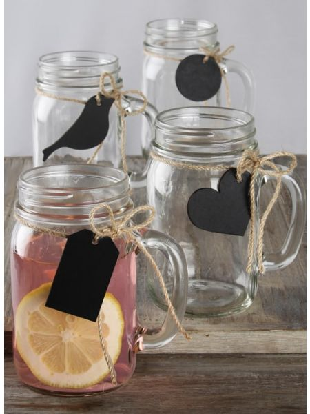 Chalkboard Tag Mason Jars w/Jute  - Set of 12