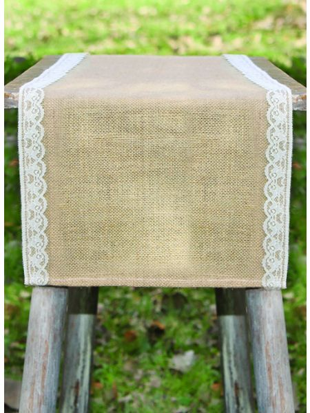 Thin Lace Burlap Table Runner