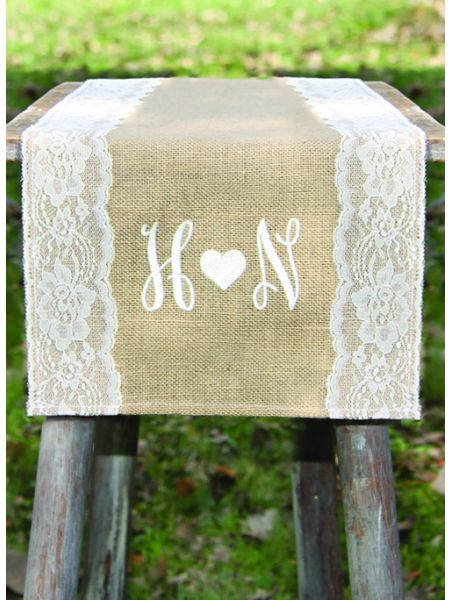 Initials w/Heart Embroidered Burlap Table Runner w/Wide Lace Edge