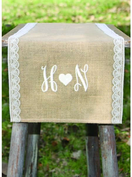 Initials w/Heart Embroidered Burlap Table Runner w/Lace Edge
