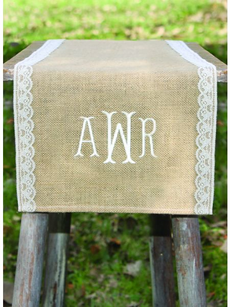 Monogram Embroidered Burlap Table Runner w/Lace Edge