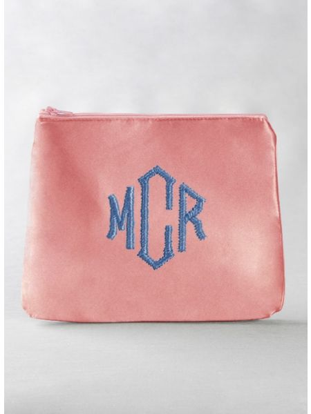 Monogram Embroidered Cosmetic Bag