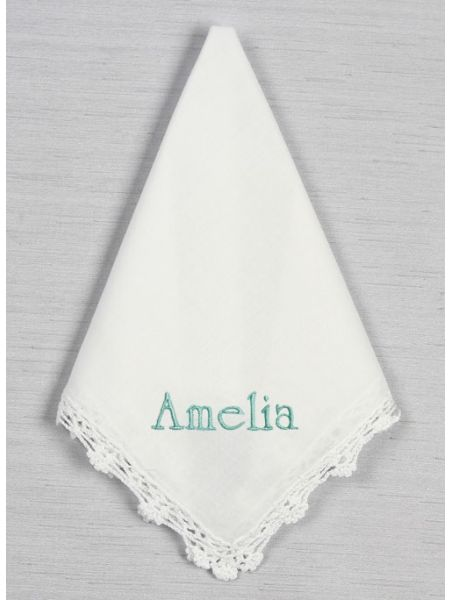 Embroidered Crochet Lace Handkerchief