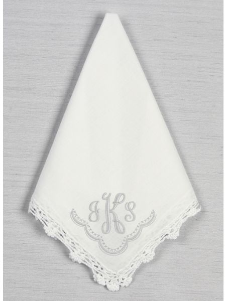 Embroidered Monogram with Border Hankie