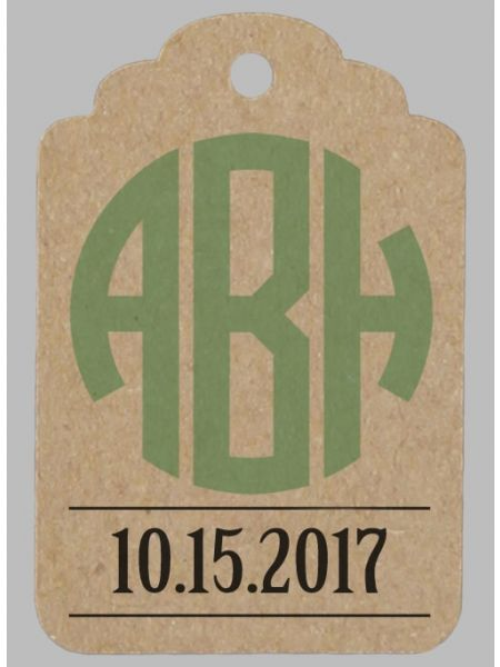 Monogram & Date Favor Tag