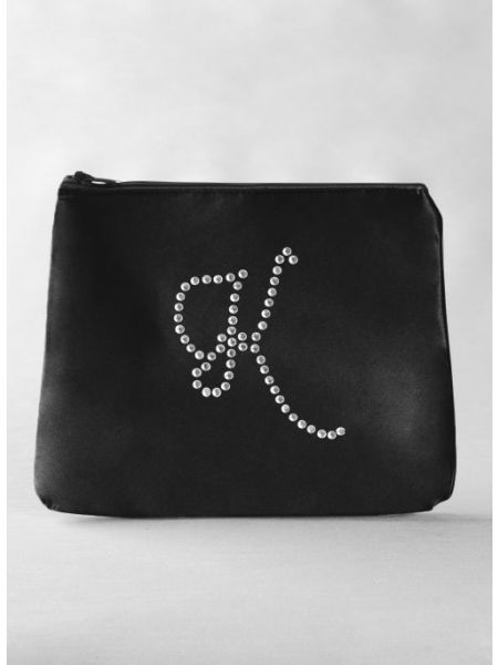 Rhinestone Initial Cosmetic Bag