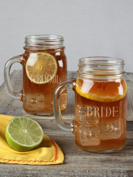 Bride & Groom Mason Jar Set 2pc
