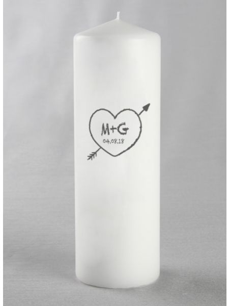 Initials w/Heart Pillar Candle