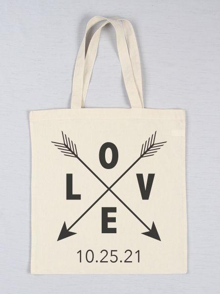 Love w/Arrows Printed Tote Bag