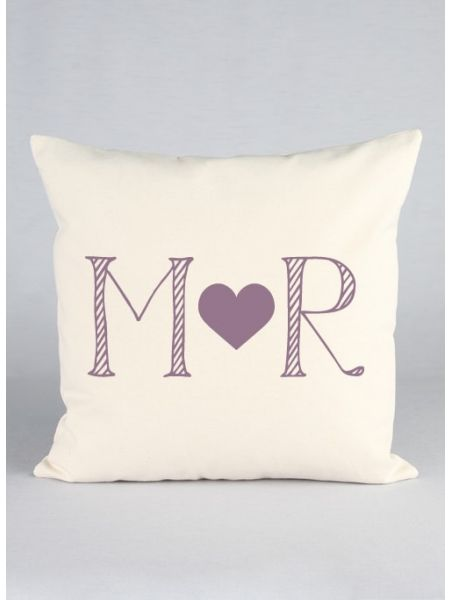 Initials & Heart Canvas Decor Pillow
