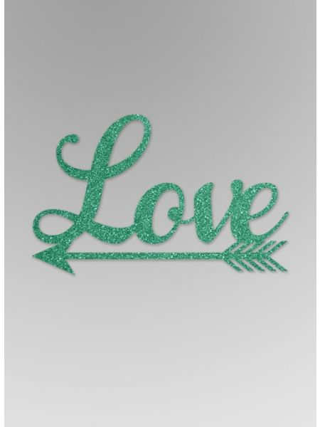 Love with Arrow Glitter Word