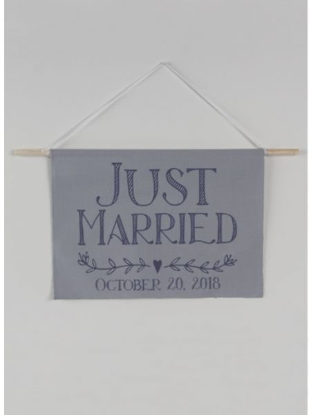 Just Married w/Date Canvas Sign