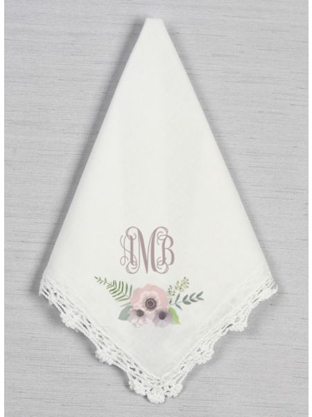 Printed Monogram Crochet Handkerchief