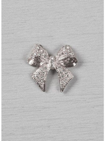 """Bow 1 1/8"""" brooch w/Rhinestones, silver"""