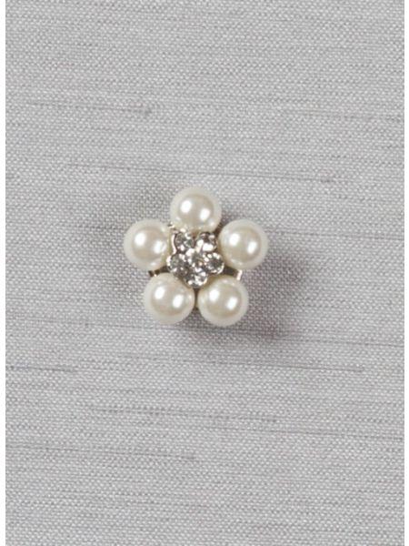 "Pearl and rhinestone flower 1/2"" brooch-1"