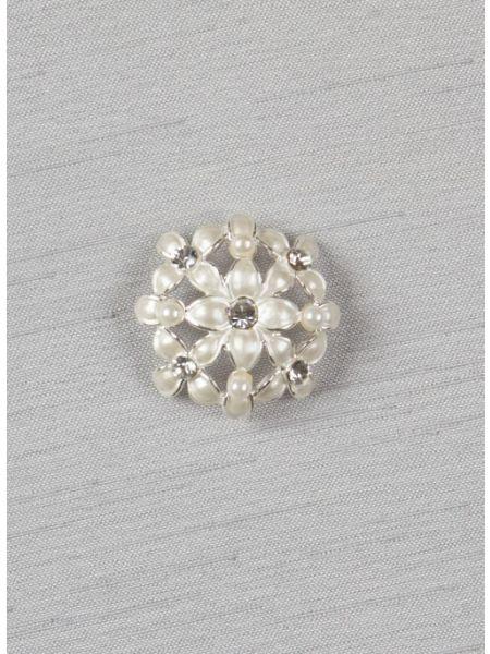 """Rhinestone flower pearlized brooch, 1"""""""
