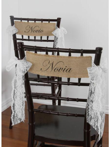 Novia and Novio Burlap Chair Sashes