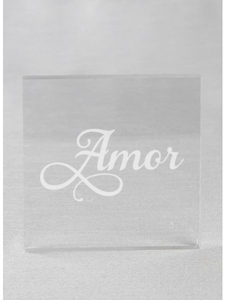 Amor Acrylic Square Cake Top