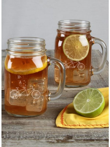 Bicycle Mason Jar Set Mr / Mr