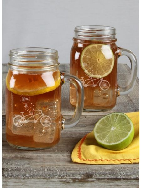 Bicycle Mason Jar Set Mrs / Mrs