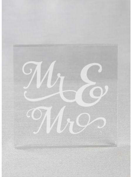Mr. & Mr. Acrylic Square Cake Top