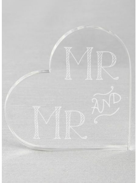 Mr. & Mr. Acrylic Heart Cake Top