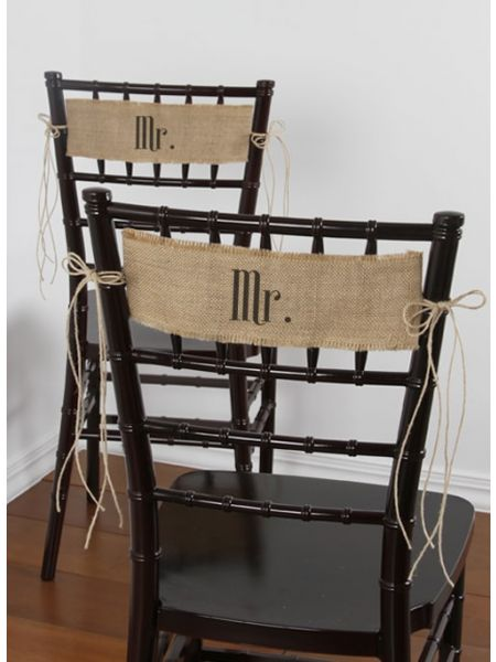 Mr/Mr Burlap Chair Sashes