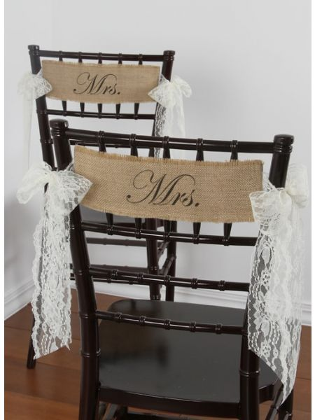 Mrs/Mrs Burlap Chair Sashes