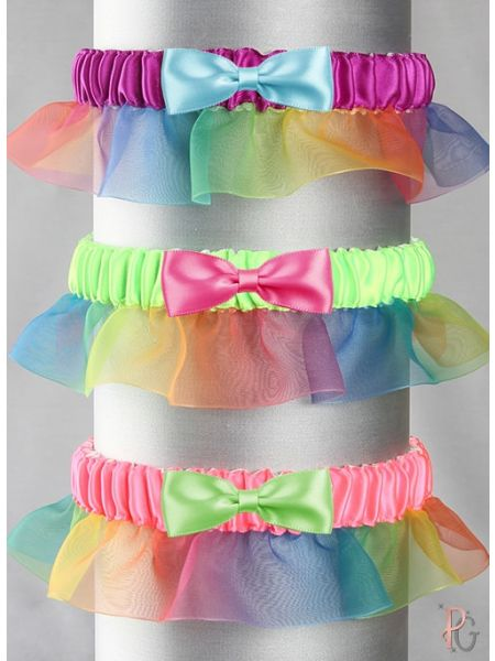 Rainbow Ruffle Custom Bow Tie Garter