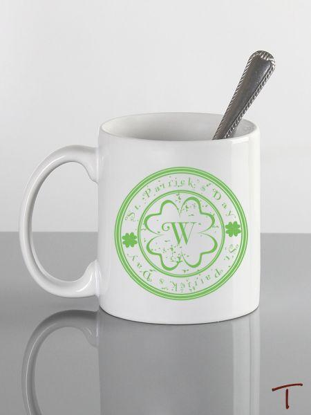Initial Shamrock Mug