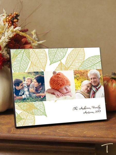 Photo Collage Leaf Design Plaque