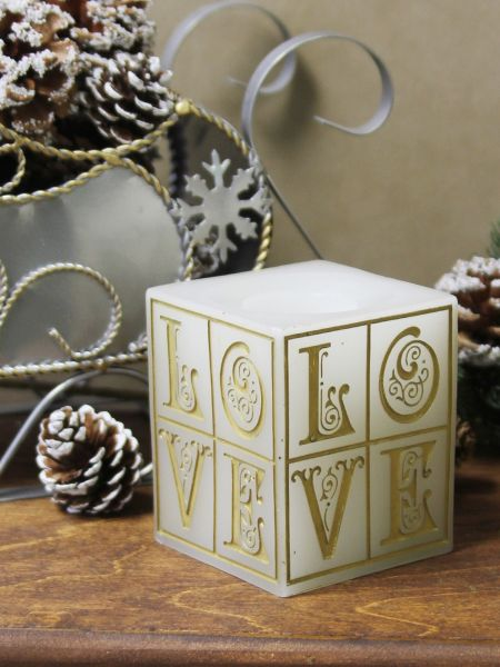 Gold LOVE LED Candle