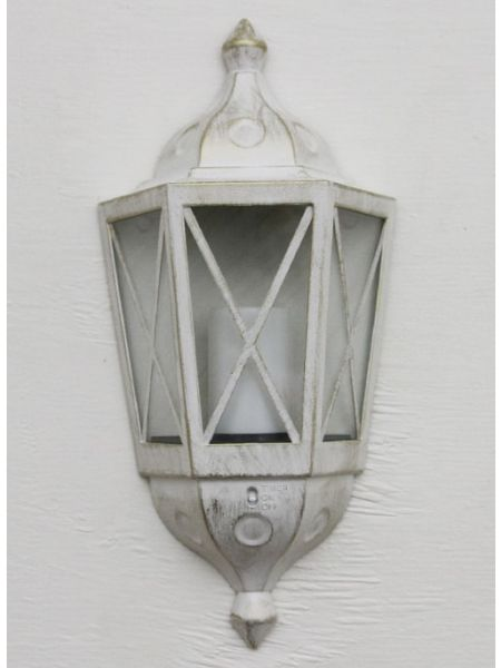 Antique White Outdoor Lantern With LED Candle