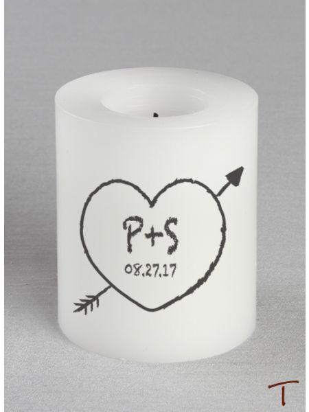 Tenereze Exclusive | Heart Initials LED Candle