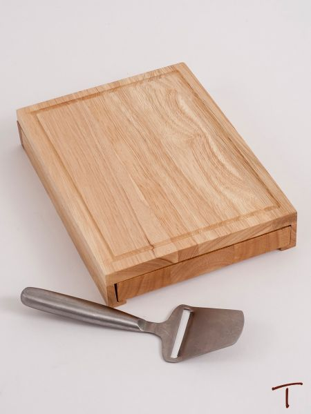 Rectangular Wood Cheese Board with Metal Handled Tools Inside