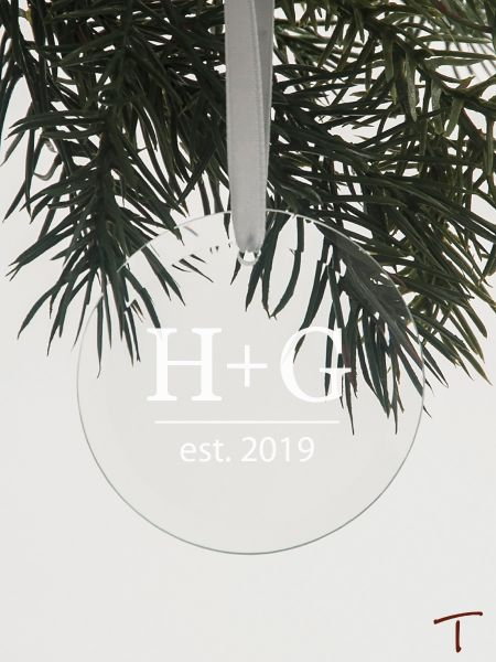 Tenereze Exclusive | Initials & Year Round Glass Ornament