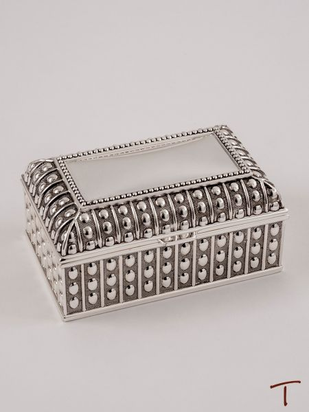 Beaded Antique Rectangle Jewelry Box - Large