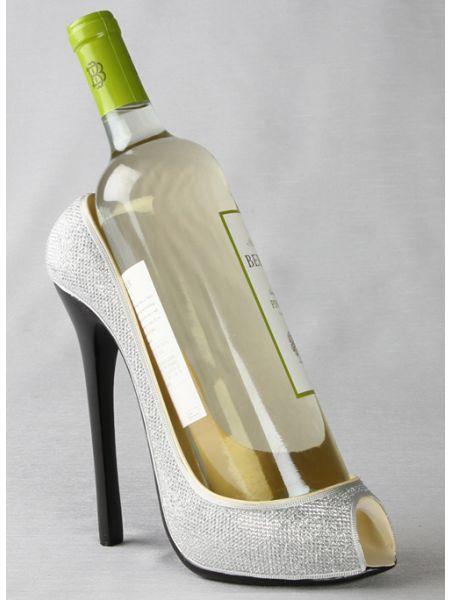 High Heel Silver Bottle Holder