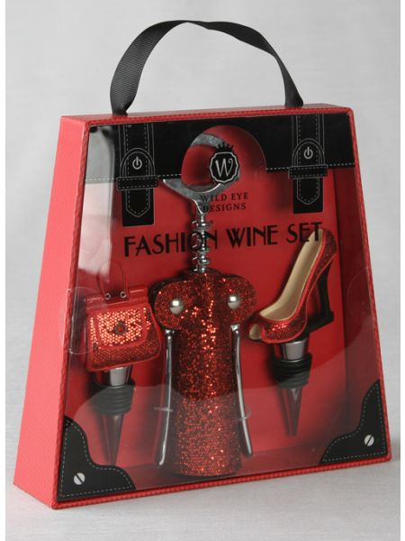 Red Glitter Wine Set