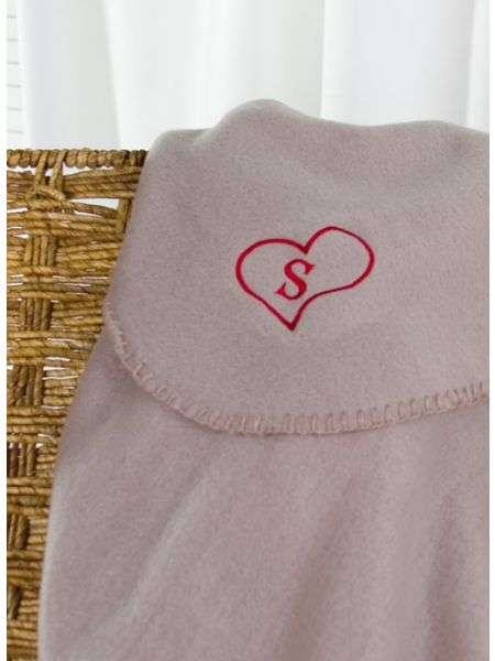 Heart Initial Fleece Blanket